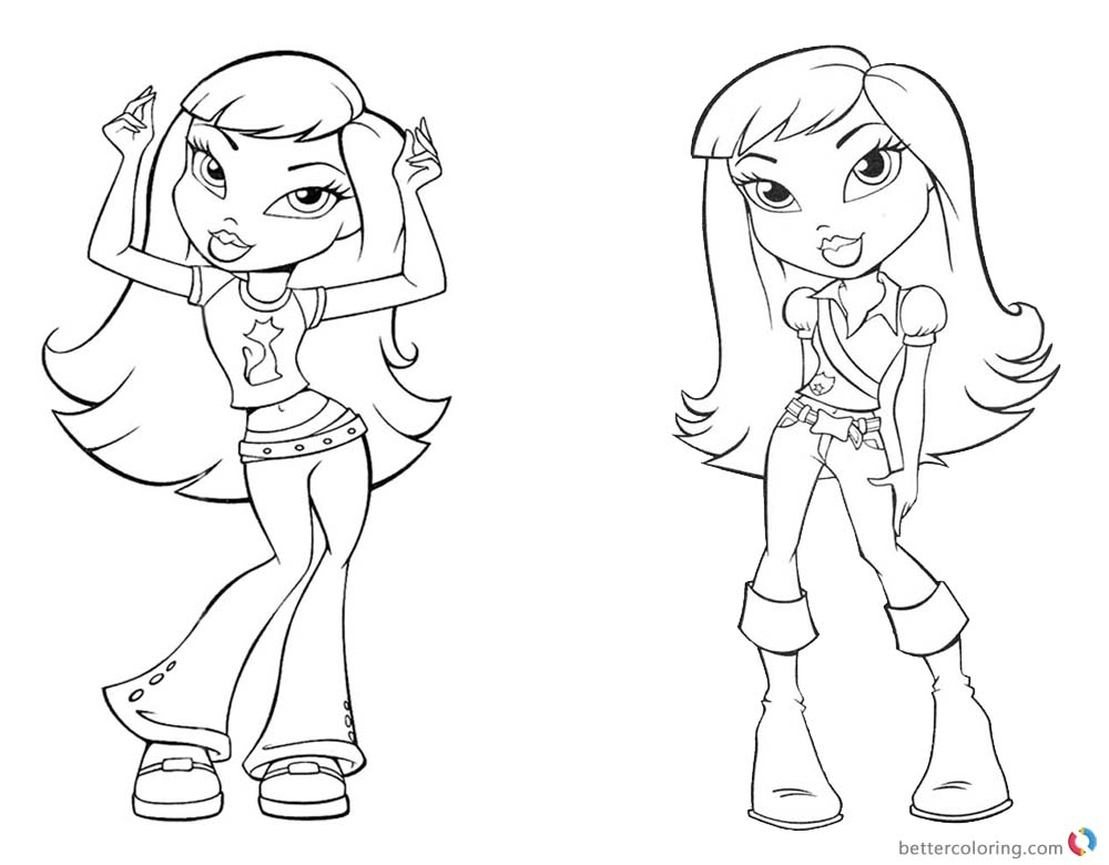 Bratz Coloring Pages Two Babyz Doll Girls Lineart printable for free