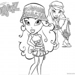 Bratz Coloring Pages Two Babyz Doll Wear Hats