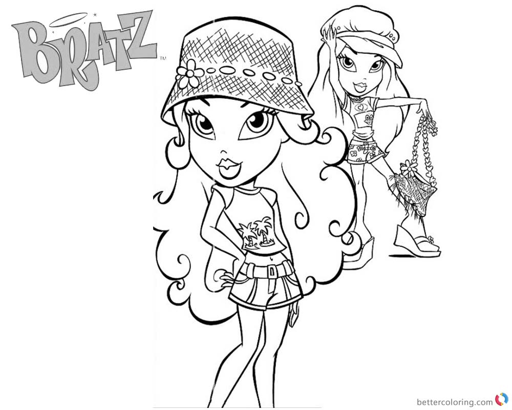 Bratz Coloring Pages Two Babyz Doll Wear Hats printable for free