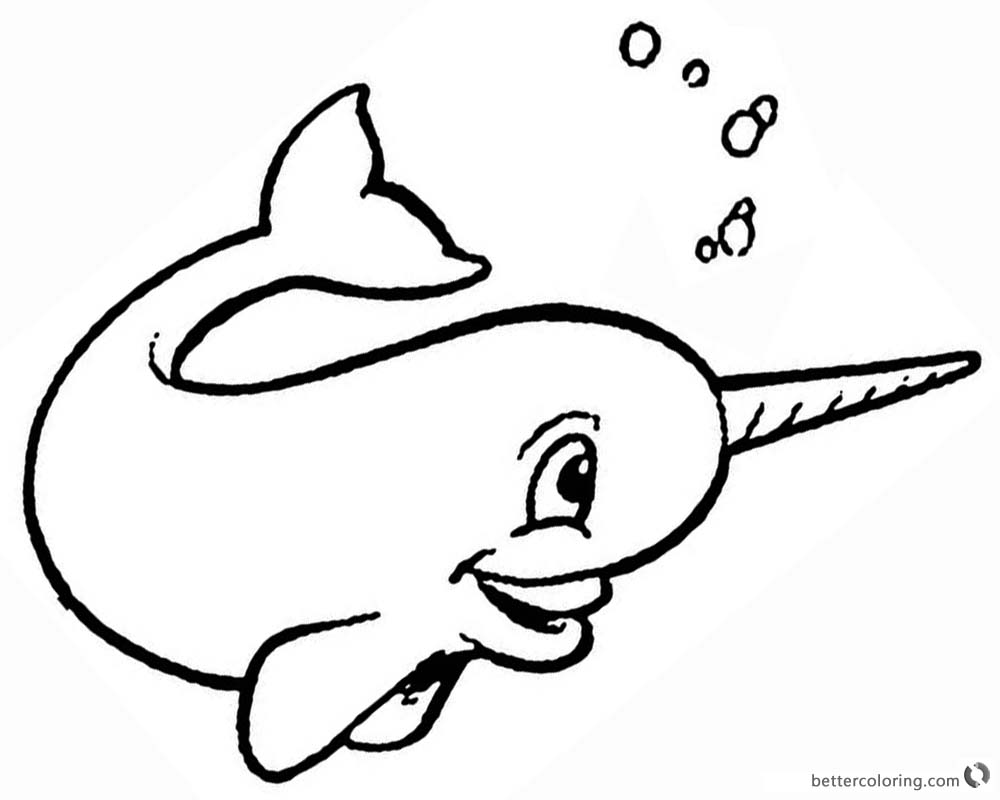 Cartoon narwhal coloring pages bubbling free printable for Narwhal coloring page
