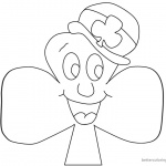 Cartoon Shamrock coloring pages with hat