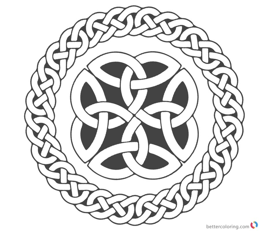 Celtic Knot Coloring Pages Circle Ribbons printable for free