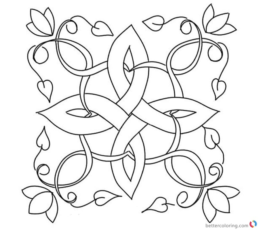 Celtic Knot Coloring Pages Flowers and Leaves Free