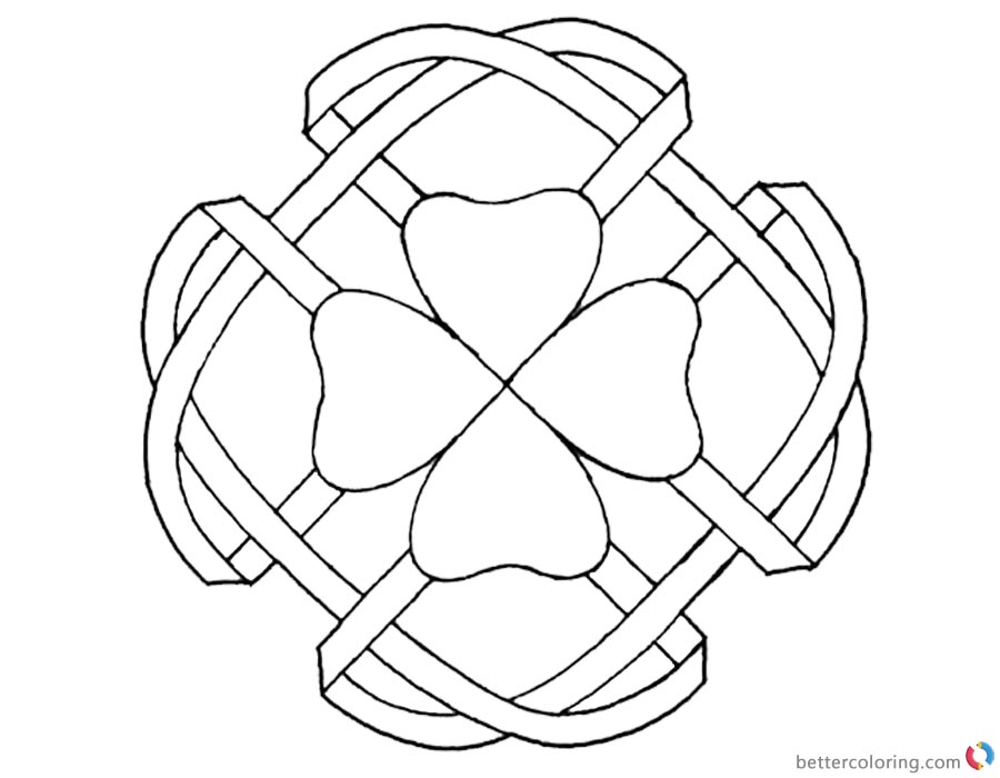 photograph about Four Leaf Clover Printable named Celtic Knot Coloring Web pages 4 Leaf Clover - Free of charge Printable