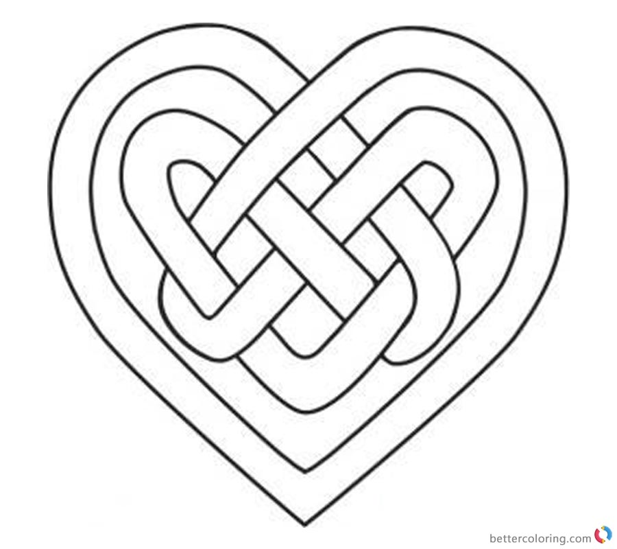 Celtic Knot Coloring Pages Heart Love Free Printable Coloring Pages