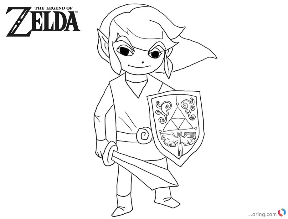 Chibi Link from Legend of Zelda to Coloring Pages printable for free