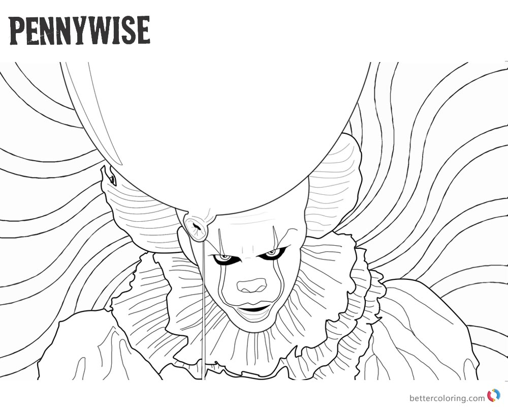 Clown Pennywise Coloring Pages Psychedelic Background - Free ...