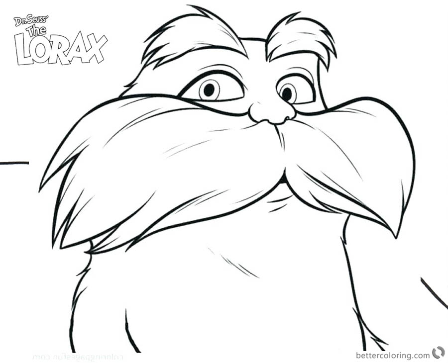Cool Dr Seuss Lorax Coloring Pages Line Art printable