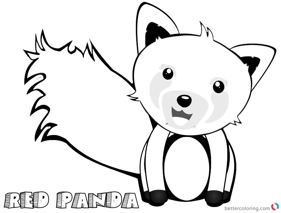 Cute Red Panda Coloring Pages Clip Art printable for free