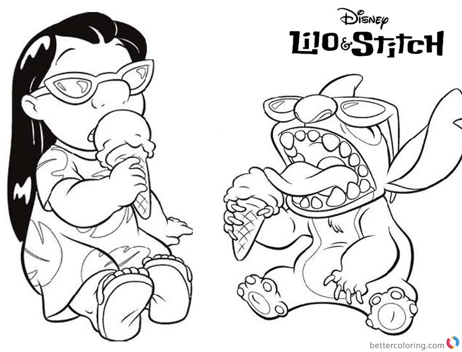 Disney Lilo and Stitch Coloring Pages Enjoying Iceream printable and free