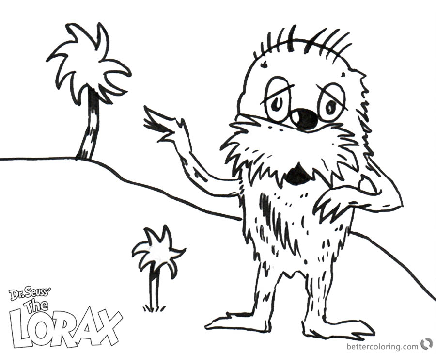 Dr Seuss Lorax Coloring Pages Lorax and Tree by Ethan printable