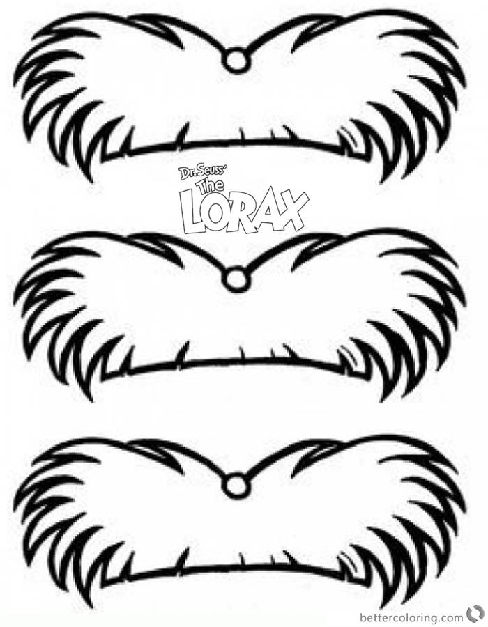 graphic regarding Lorax Printable identified as Dr Seuss Lorax Mustache Coloring Webpages - Free of charge Printable