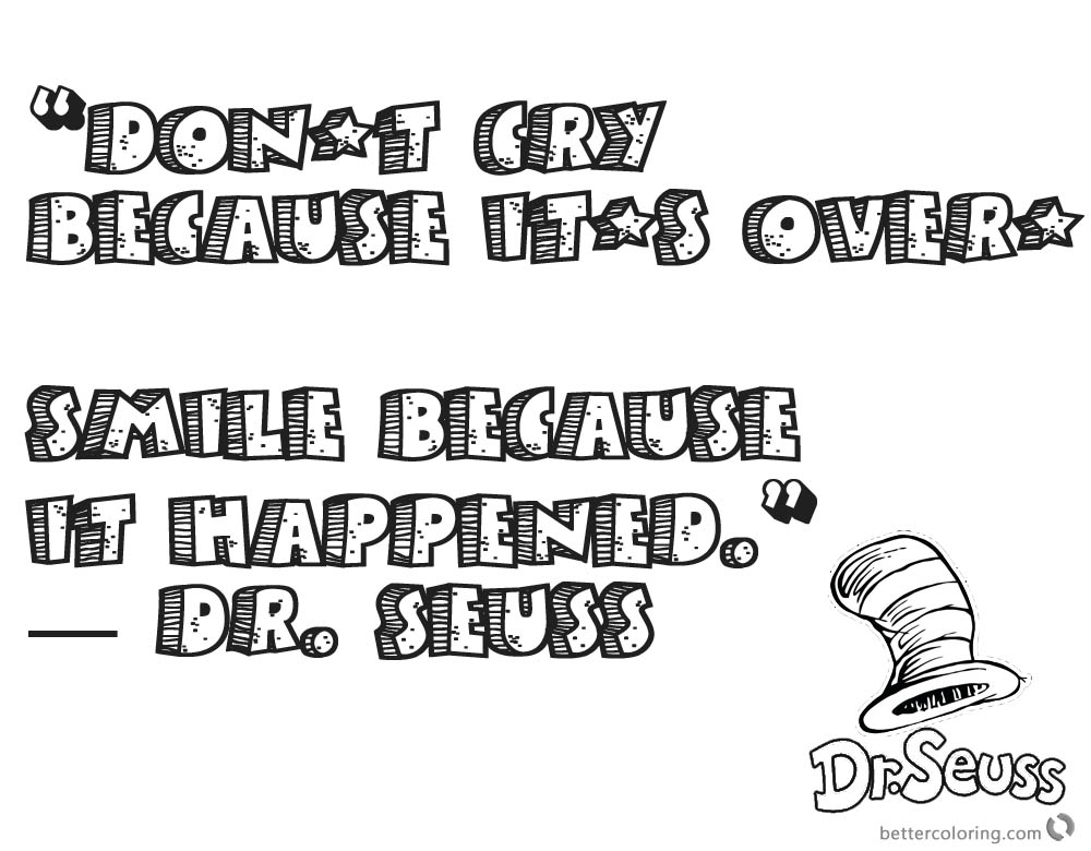 Dr Seuss Quote Coloring Pages Dont Cry printable