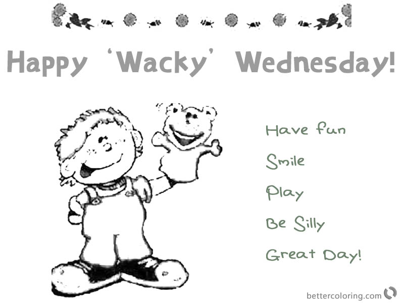 Dr Seuss Wacky Wednesday Coloring Pages Boy with Bear Doll printable