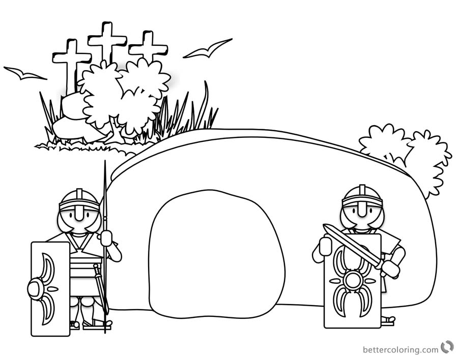 free empty tomb coloring pages | Easter Empty Tomb Cloring Pages Black and White - Free ...
