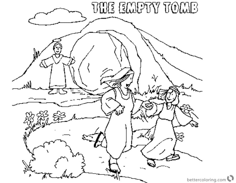 Easter Empty Tomb Cloring Pages printable for free
