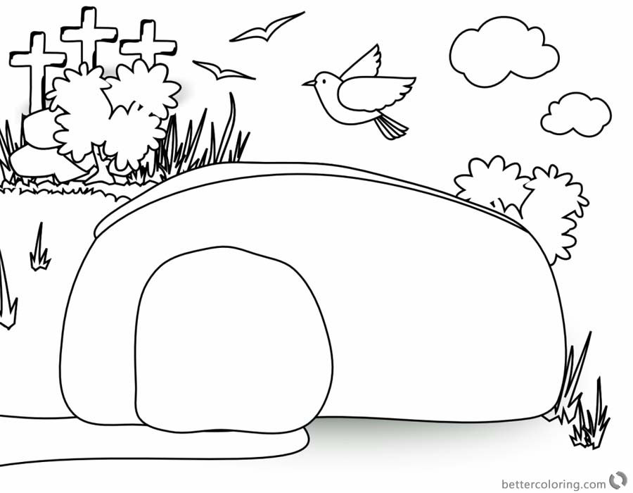 Empty Tomb Cloring Pages Birds Fly over the Tomb printable for free