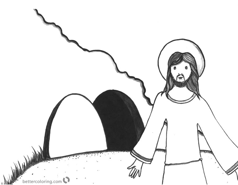 Empty Tomb Cloring Pages Easter Day Clip Art printable for free