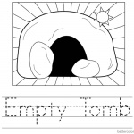 Empty Tomb Cloring Pages Easter Worksheet