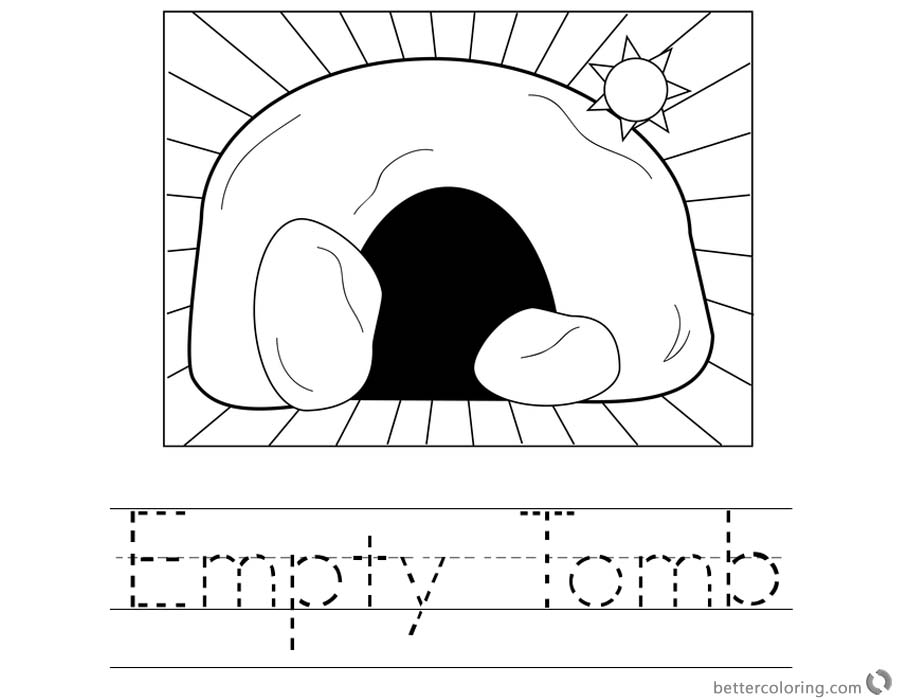Empty Tomb Cloring Pages Easter Worksheet printable for free