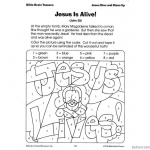 Empty Tomb Cloring Pages He is Risen Color with Codes Worksheet