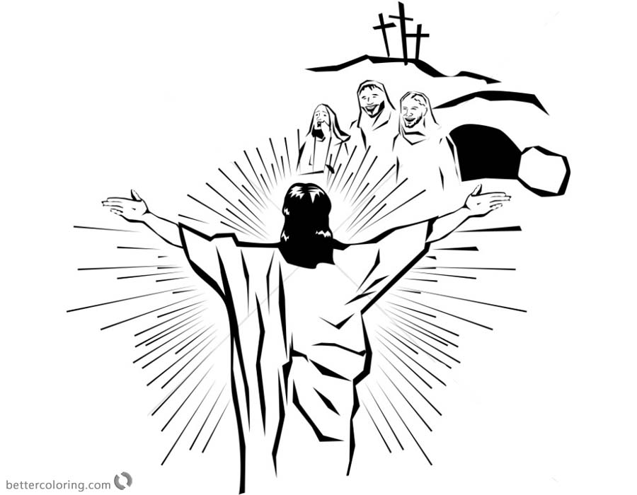 Empty Tomb Cloring Pages He is Risen Line Art printable for free
