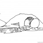 Empty Tomb Cloring Pages He is Risen Line Drawing
