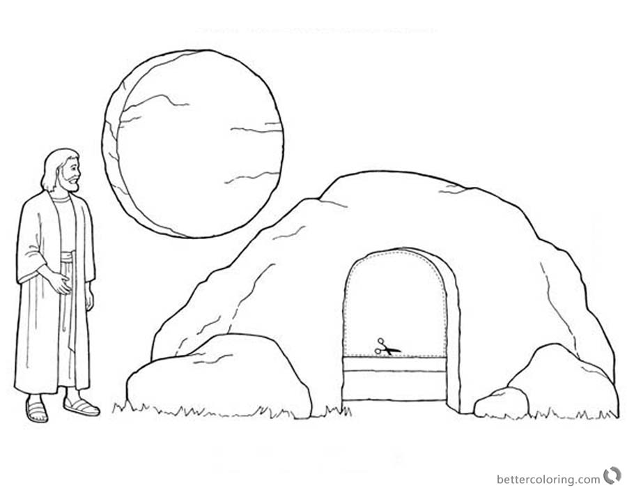 empty tomb cloring pages jesus is risen easter coloring