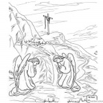 Empty Tomb from Easter Cloring Pages Two Angels
