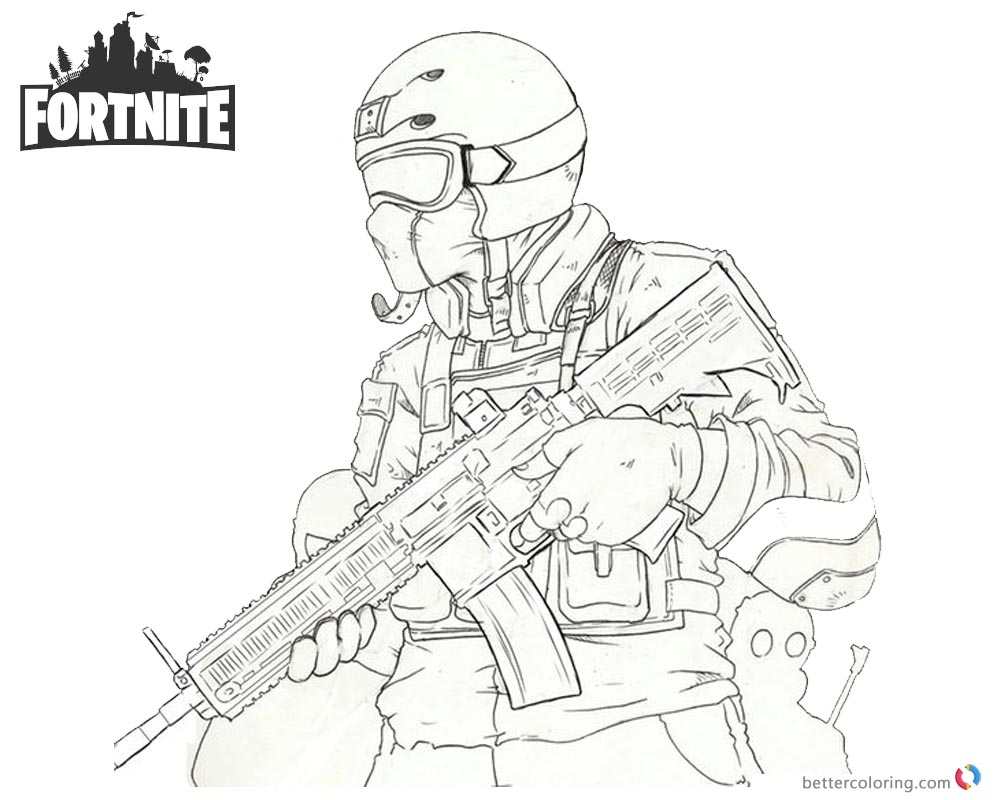 Fortnite Coloring Pages Fanart Character Drawing Free