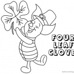 Four Leaf Clover Coloring Pages Piglet Dancing
