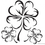 Four Leaf Clover Coloring Pages Realistic black and white