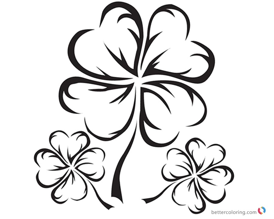 Four Leaf Clover Coloring Pages Realistic black and white Free
