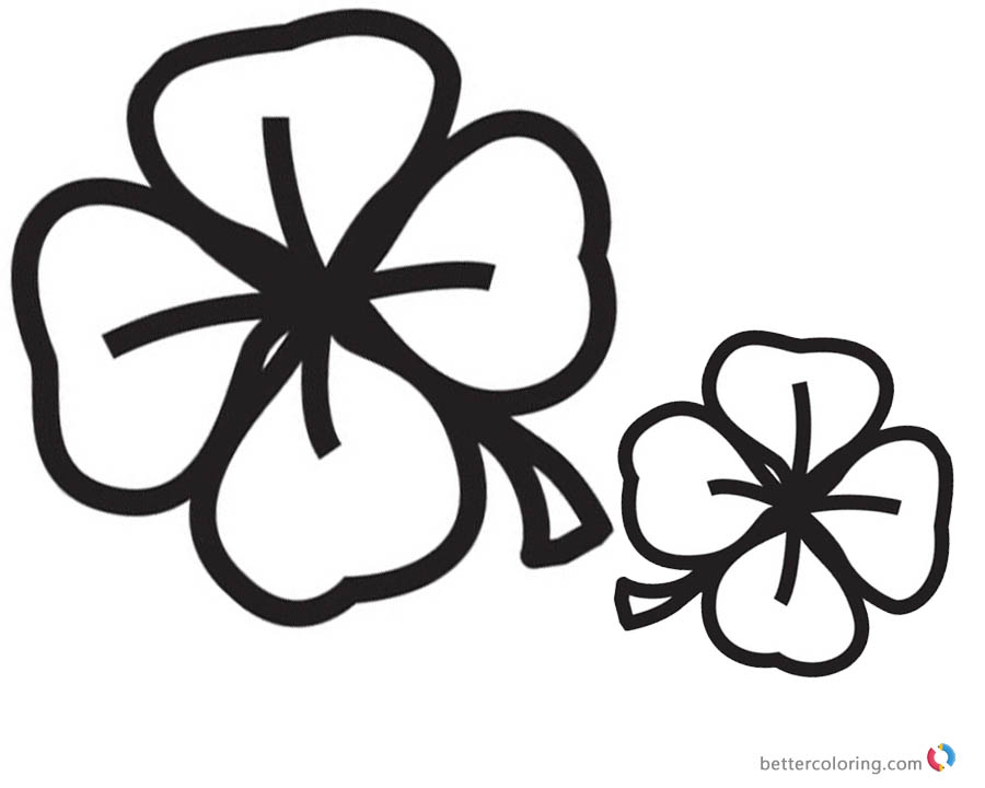 Four Leaf Clover Coloring Pages black and white printable