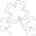 Four Leaf Clover Coloring Pages easy for kids