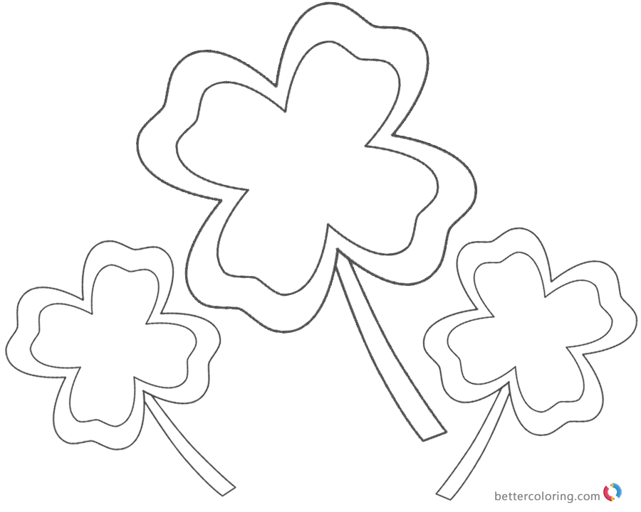 Four Leaf Clover Coloring Pages easy for kids printable