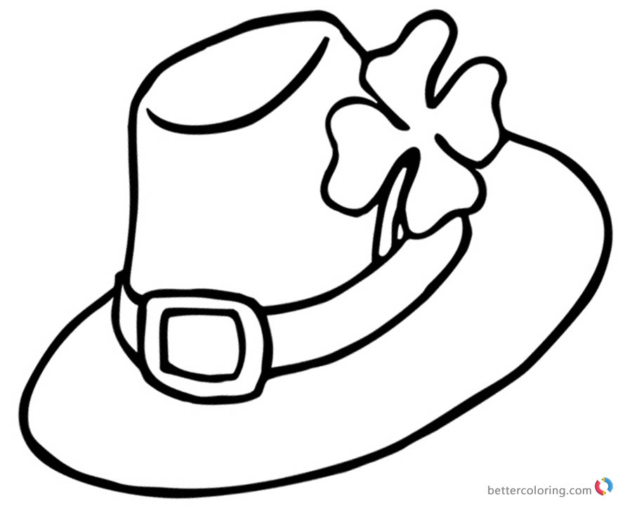 Four Leaf Clover Coloring Pages fancy hat Free Printable