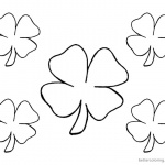 Four Leaf Clover Coloring Pages five flowers