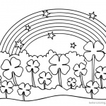 Four Leaf Clover Coloring Pages flowers under rainbow