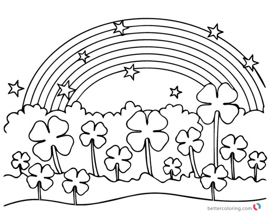 Four Leaf Clover Coloring Pages Flowers Under Rainbow Free