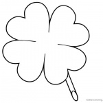 Four Leaf Clover Coloring Pages for Lucky