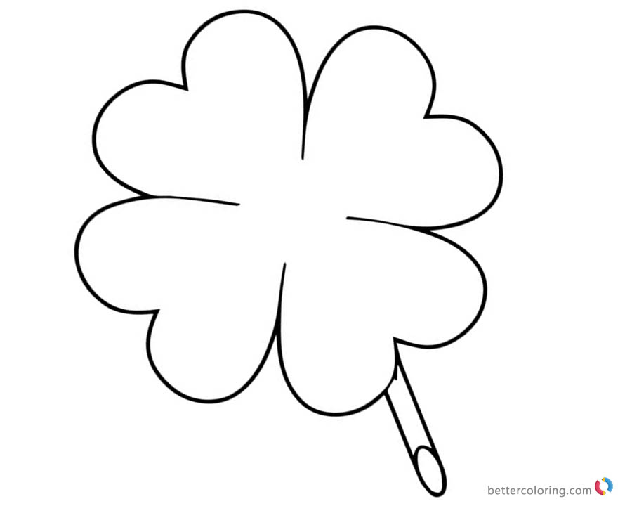 4 leaf clover coloring page - four leaf clover coloring pages for lucky free printable