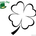Four Leaf Clover Coloring Pages for St Patrick day simple for kids