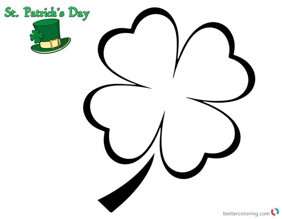 Four Leaf Clover Coloring Pages for St Patrick day simple and printable