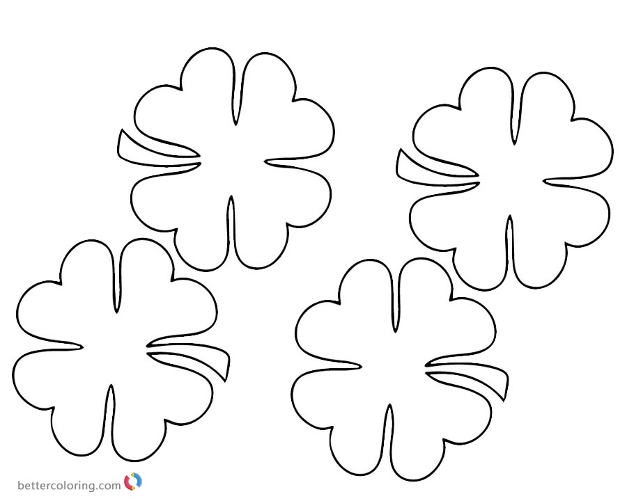 download this coloring page print this coloring page simple four leaf clover - Four Leaf Clover Coloring Pages
