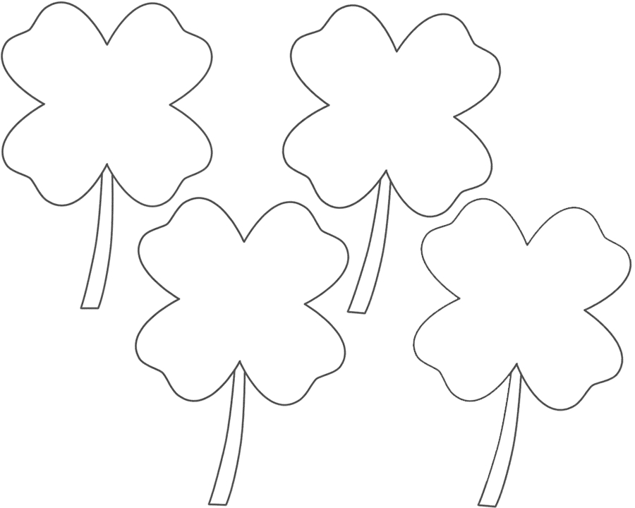 Four Leaf Clover Coloring Pages four flowers for kids