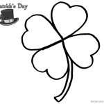 Four Leaf Clover Coloring Pages of St Patrick day