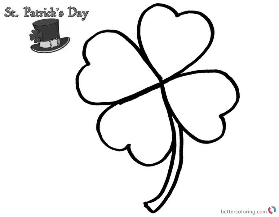 Four Leaf Clover Coloring Pages of St Patrick day printable