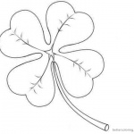 Four Leaf Clover Coloring Pages simple for kids