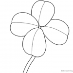 Four Leaf Clover Coloring Pages simple lineart
